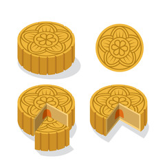 Chinese Moon cake with floral pattern, vector