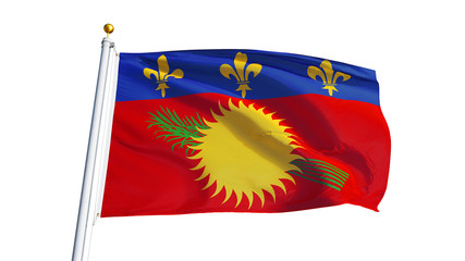 Guadeloupe flag waving on white background, close up, isolated with clipping path mask alpha channel transparency