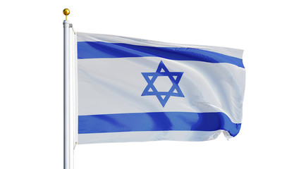 Israel flag waving on white background, close up, isolated with clipping path mask alpha channel transparency