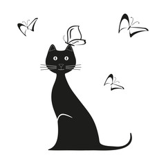 Vector black butterfly and cat is sitting kitty. Graphic image. Vector illustration kitten