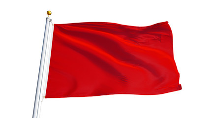 Red flag waving on white background, close up, isolated with clipping path mask alpha channel transparency