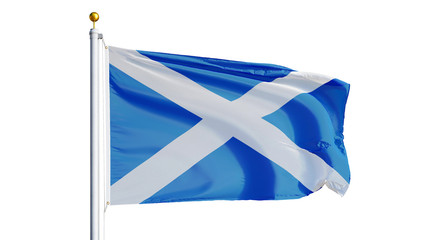 Scotland flag waving on white background, close up, isolated with clipping path mask alpha channel transparency