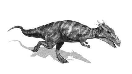 Dracorex Dinosaur - 3d render in pencil drawing style