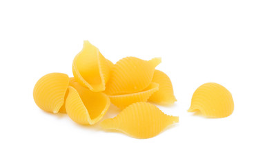 Pasta shells isolated with white background