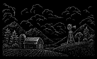 drawing of rural landscape