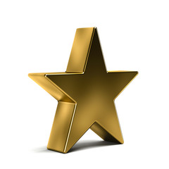 Golden Star Award Illustration. 3D Rendering Design