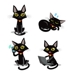 Black Cat. Sitting Cat. Sleeping Cat. Cat And Phone. Cat And Smartphone. Cat And Computer. Vector Cat. Vector Illustration. Black Cat Plush. Black Cat Tail And Tattoo. Cat Pictures Vector Set.