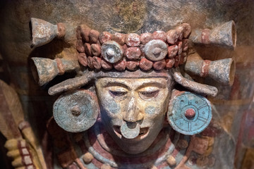 Maya aztec mexican pottery carved mask