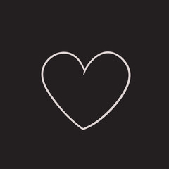 Heart sign sketch icon.