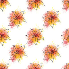 Seamless bakground pattern with hand drawn flowers on orange wat