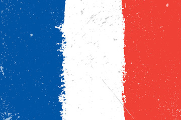Grunge flag of France with splash and spots