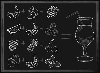 Hand drawn fruit smoothie recipes on black chalkboard background