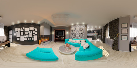 3d illustration spherical 360 degrees, seamless panorama of living room interior design.