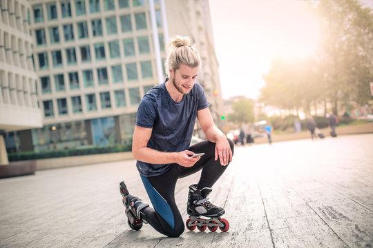 Skater using his phone