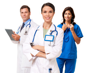 Doctor Nurse with digital tablet isolated on white background