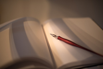 Open pages of a blank book  with an old pen