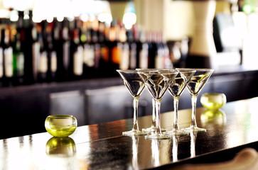 Four Martini Glasses on Bar