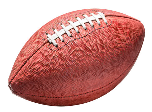 American professional NFL leather football isolated on white background for use alone or as a design element