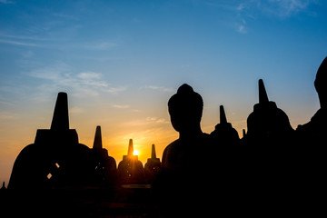 Sunrise at Borobudur, the largest Buddhist temple in the world. Java, Indonesia. A UNESCO World Heritage Site