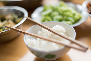 Rice and chopsticks, Sichuan, China