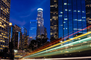 Los Angeles Skyline with light streaks  at Night