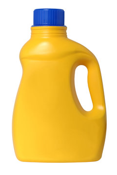 Yellow plastic Laundry detergent bottle with blue cap isolated on white background