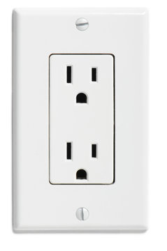 North American designer household electrical socket outlet isolated on white background