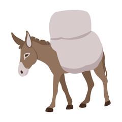 donkey loaded style vector illustration Flat