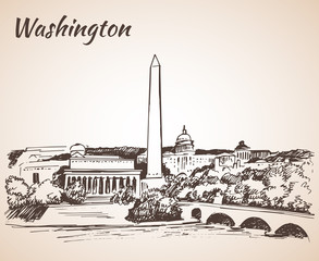 Washington DC cityscape - sketch.