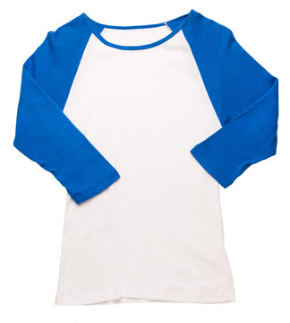 Women's 3/4 sleeve baseball jersey t-shirt with blue sleeves isolated on white background