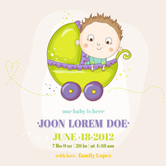 Cute Baby Boy in a Carriage - Baby Shower or Arrival Card - in vector