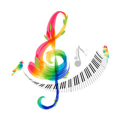 Music design, treble clef and piano keyboard vector