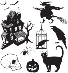 Vector illustration set of traditional Halloween icons in silhouette