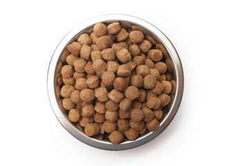 A bowl of dog food on a white background
