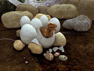 Dinosaurio saliendo de un huevo
