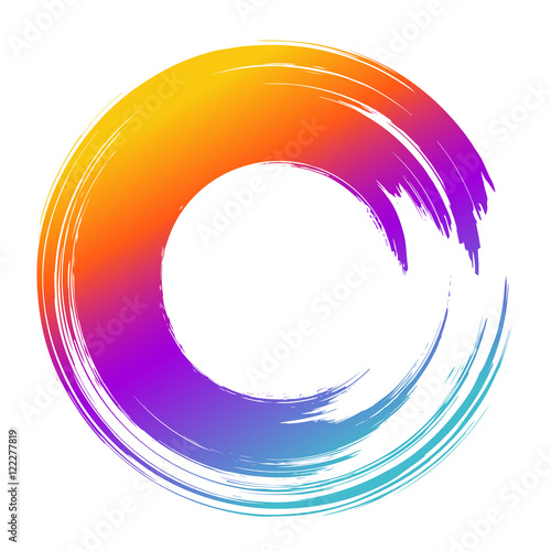 grunge hand drawn color paintbrush circle curved brush stroke