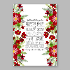 Wedding invitation template with watercolor winter  flower christmas wreath pine branch