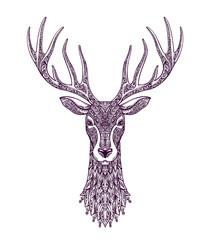Hand drawn head deer, reindeer. Christmas, xmas symbol