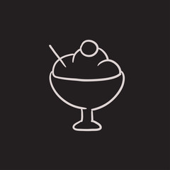 Cup of ice cream sketch icon.