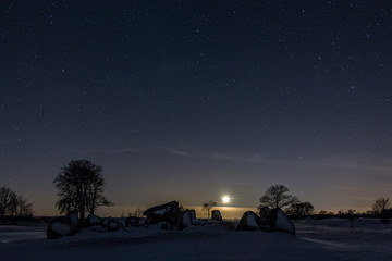 Idyllic Shot Of Snow Covered Landscape Against Sky At Dawn