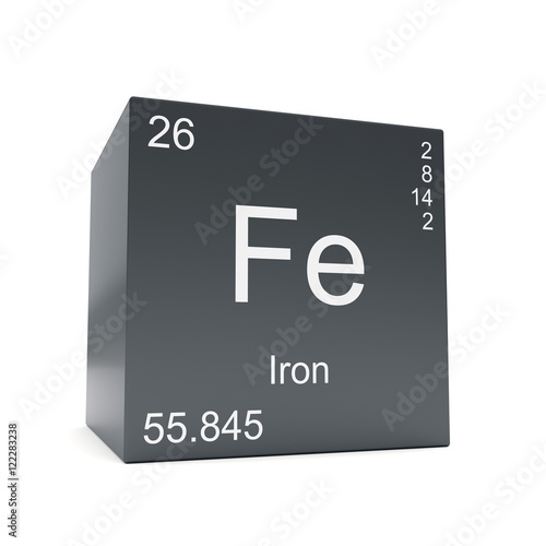 Iron Chemical Element Symbol From The Periodic Table Displayed On