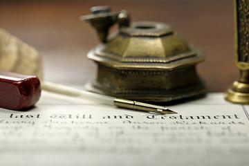 altes handgeschriebenes Testament in englischer Sprache