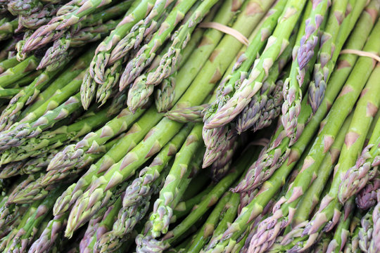 asparagus bunches in market