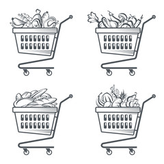 monochrome collection of shopping carts with sausages, fruit, vegetables and bakery