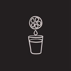 Glass of juice sketch icon.