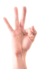 Letter 'F' in sign language, on a white background