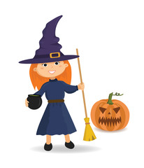 Girl in witch costume with broom in hand. Halloween.