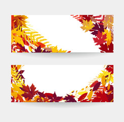 Two autumn vector banners, Colorful autumn leaves