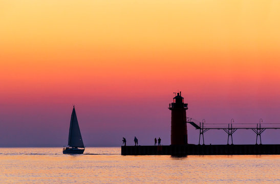 South Haven Twilight on Lake Michigan at South Haven, Michigan