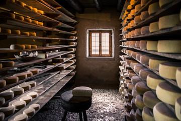 Poster de jardin Produit laitier Alpine hut that produces homemade cheeses.